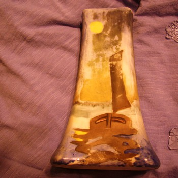 1918 Bohemian HAT PIN HOLDER ? SAILBOAT AT SHORE LINE,  CROWN CROSSED ANVILS - Art Pottery