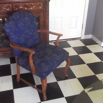 Flower Pattern Blue Arm Chair - Furniture