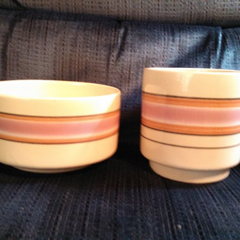 Two Striped Ceramic Pots