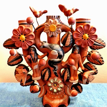 Árbol de la vida Tree of life Adam and Eve in the garden Mexican pottery - Pottery