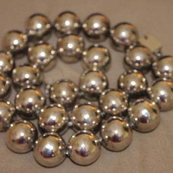 Large Silver Bead Necklace