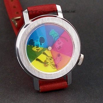 70's Bradley Disney Prototype Kaleidoscope Mickey Goofy & Pluto Watch