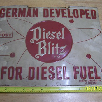 "Vintage fence sign: ""Diesel Blitz"" - Signs"