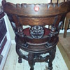 Gothic carved 6 legged wooden swivel round chair Set 2
