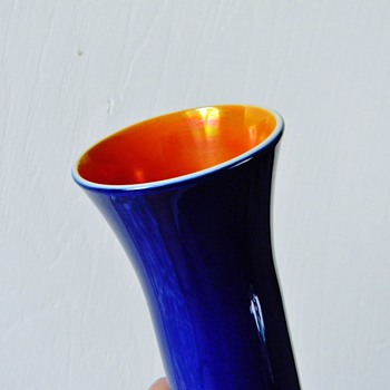 Imperial Freehand 1920's Cobalt Blue Orange Lustre Cased Vase
