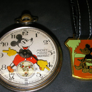 1934 English Mickey Mouse Pocket Watch + &#039;Mickey and Pluto Hunter&#039; fob