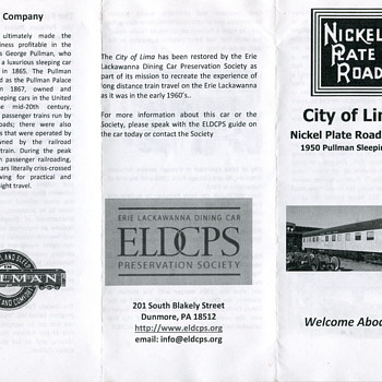 ELDCPS City of Lima Pullman, Nickel Plate Road….. - Railroadiana