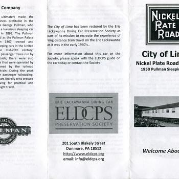 ELDCPS City of Lima Pullman, Nickel Plate Road….. - Railroadiana
