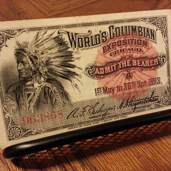 1893 World Columbian Exposition Admittance Ticket - Paper