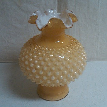 Rare Fenton Honey Amber Overlay Lamp Shade Vase: With Base Not Cut - Glassware