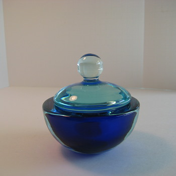 Seguso Cobalt blue and aqua sommerso vanity bowl - Art Glass