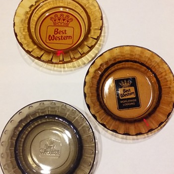 3 generations of BEST WESTERN HOTEL ashtrays