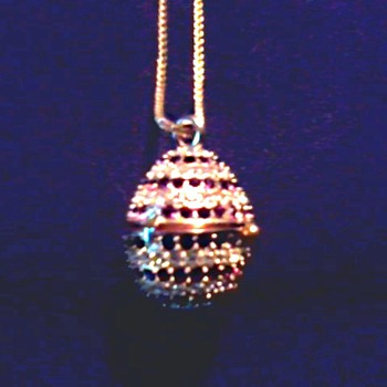 """Xanadu"" Rhinestone Egg Pendant Watch /Quartz Movement Made in Japan/Circa 2002-05 - Costume Jewelry"