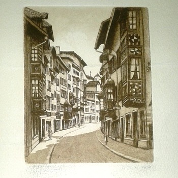 Old Lithograph/Engraving Artist Rendering Of Early Lwow, Poland-Hometown Of Biochemist Dr. Thaddeus Mann - Visual Art
