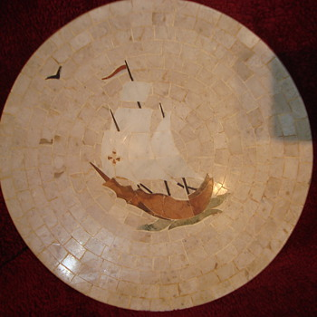marble plate mosaic have not seen any like it!  whats it worth? - Art Pottery
