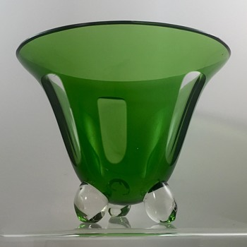 Czech Ball-footed Vase, green cut to clear, ca. 1930s - Art Glass