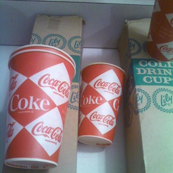 Ca 1965 paper coke cups in original boxes- about 200, Iconic coke/food backlit menu board inserts - Coca-Cola