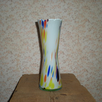 Bohemian multicolored spatter glass vase.