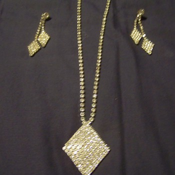 Great Grandmas Rhinestone necklace and earrings.