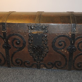 Domed Immigrant Trunk W/ Excellent Forged Iron Straps and Scrolls