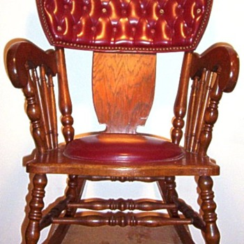 Antique Leather and Wood Rocking Chair