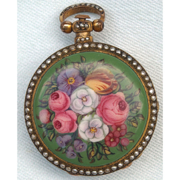 "Miniature Floral Enamel Gilt Verge ""Chinese Market"" Watch by Dimier c1825 - Fine Jewelry"