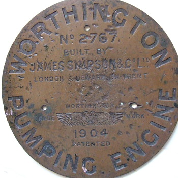 c1904 Worthington Pumping Engine brass name plate - Firefighting
