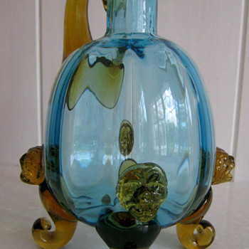 HARRACH?... Amber and Ice Blue Jug - Art Glass