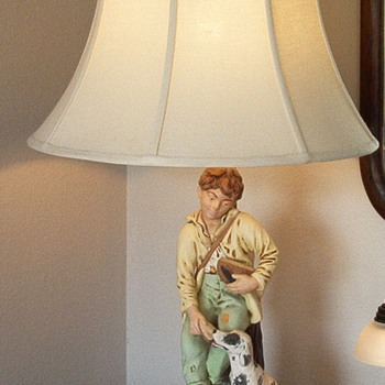 BOY AND DOG EATING BREAD TABLE LAMP