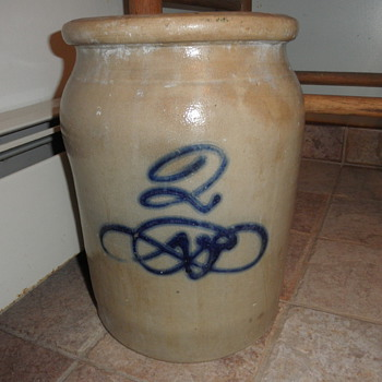Salt glazed stoneware 2 gallon jar.