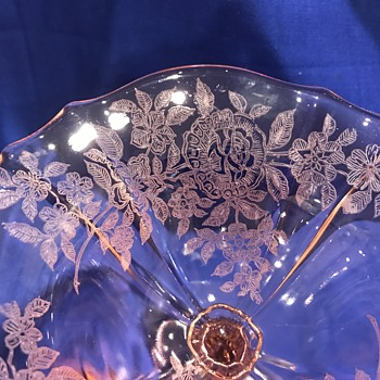 Pink Etched Compote - Glassware