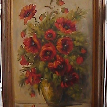 L. Ritter Oil on Canvas Poppies in Vase - Victorian Era