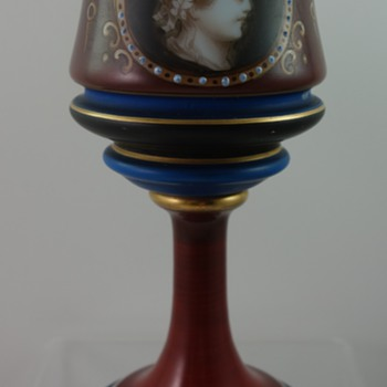 Bohemian painted milk glass goblet, Antique Revival period, ca. 1860