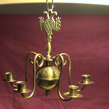 European Metal Hanging Candelabra-Chandelier? Marked Arvika..