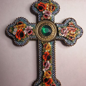 Micro Mosaic Flower cross pendant  - Fine Jewelry