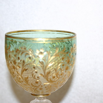 possible European/Venetian/Bohemian leaded crystal goblet with green to clear - Glassware