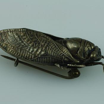 Edwardian silver ciccada brooch