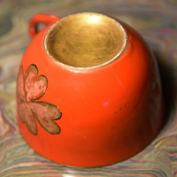 Gilded Orange Cloverleaf Teacup