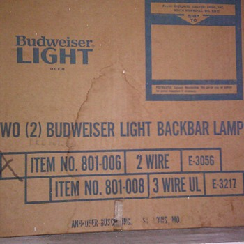 Budweiser Light Back bar Lights - Breweriana