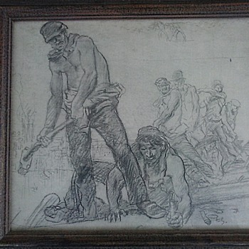 "Sir Frank William Brangwyn (1867-1956) Reproduction / ""Railway Workers"" 18"" x 20"" Framed/ Circa 20th Century - Visual Art"