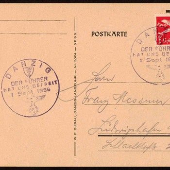 "1939 - ""Danzig - German Invasion"" Stamped Postal Card"
