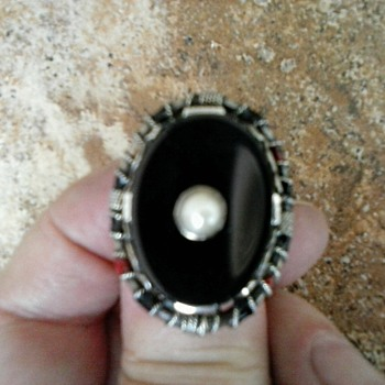 Victorian Onyx and Natural Seed Pearl Sterling Silver Mourning Ring/ Circa 19th-20th Century