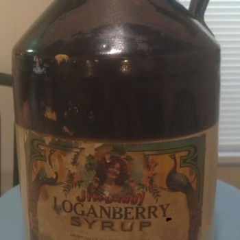 Antique Stoneware Loganberry Syrup Jug