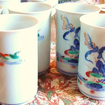 6 Tall Japanese Tea cups Age? probably (guess) 40's or 50's? - Asian