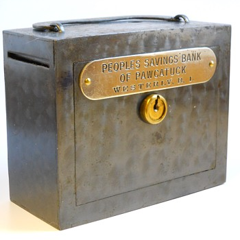 "Promotional Advertising Bank,""Peoples Savings Bank Of Pawcatuck"", Westerly, Rhode Island, Circa 1900  - Coin Operated"