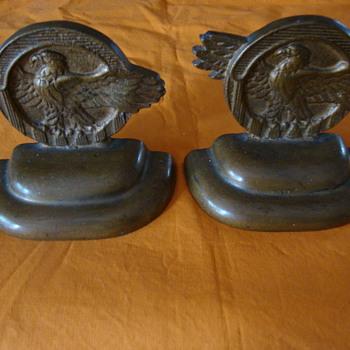 """Bronze """"Ruptured Duck"""" Bookends"""