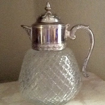 Antique glass pitcher with Sterling Silver lid - Glassware