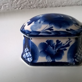 Very Small Handmade Porcelain Trinket Box, Flea Market Find