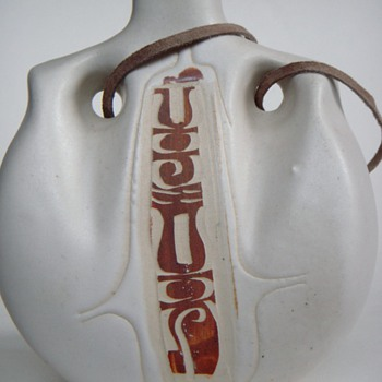Carved Pottery hanging decanter/flask - Art Pottery