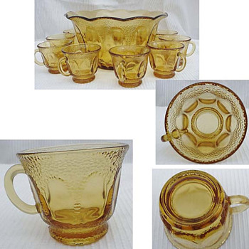 amber glass punch bowl set - Glassware